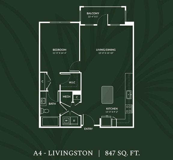 Floor Plan  A4  1 BED 1 BATH LIVINGSTON Floor Plan at Alta Croft, Charlotte, 28269