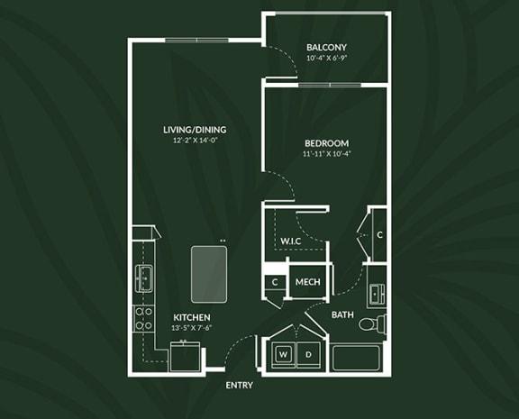 Floor Plan  A1a  1 BED 1 BATH ACCESS PAISLEY Floor Plan at Alta Croft, Charlotte, NC