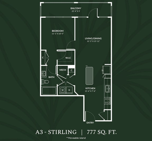 Floor Plan  A3  1 BED 1 BATH  STIRLING Floor Plan at Alta Croft, Charlotte, NC