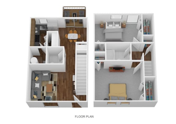 2 Bed Townhome - North Floor Plan at Coldwater Flats, Evansville, 47714