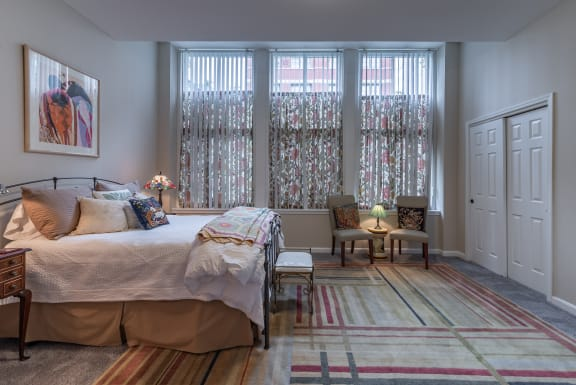 Bedroom With Expansive Windows at Renaissance at the Power Building, Cincinnati