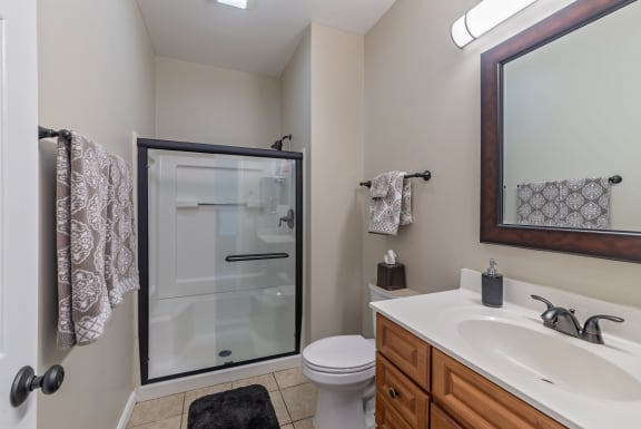 Bathroom with Vanity Lights at Renaissance at the Power Building, Cincinnati, OH, 45202