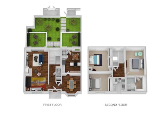 Carriage House Floor Plan at Indian Creek Apartments, Ohio