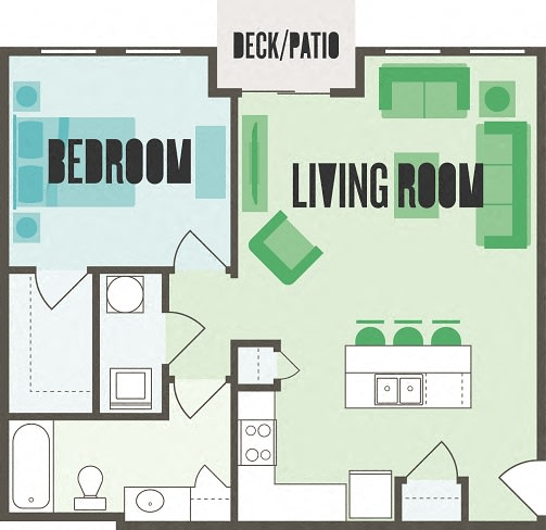 The Monroe 1 Bed  1 Bath Floor Plan at Monmouth Row Apartments, Newport, KY