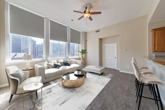 Modern Living Room With Kitchen View at Renaissance at the Power Building, Cincinnati