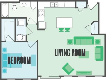 The Park 1 Bed  1 Bath Floor Plan at Monmouth Row Apartments, Newport, KY, 41071