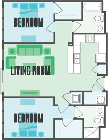 The York 2 Bed  2 Bath Floor Plan at Monmouth Row Apartments, Newport