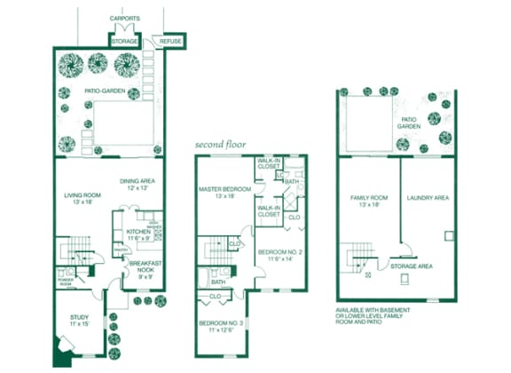 Monticello I & II 3 Bed 2.5 Bath Floor Plan at Indian Creek Apartments, Ohio