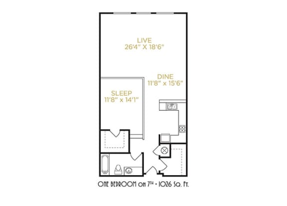 One Bedroom on 7th Floor Plan at The Lofts at Shillito Place, Cincinnati, Ohio