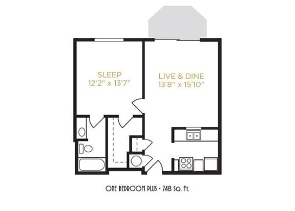 One Bedroom Plus Floor Plan at Gramercy on Garfield, Cincinnati