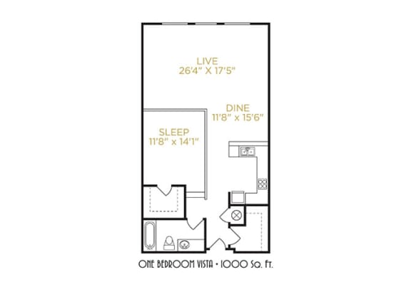 One Bedroom Vista Floor Plan at The Lofts at Shillito Place, Cincinnati, 45202