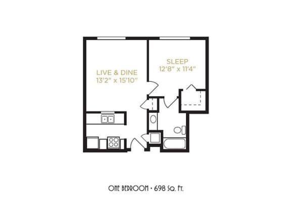 One Bedroom Floor Plan at Gramercy on Garfield, Ohio