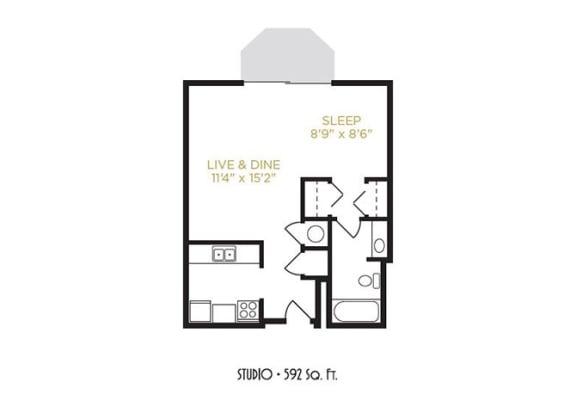 Studio Floor Plan at Gramercy on Garfield, Cincinnati, Ohio