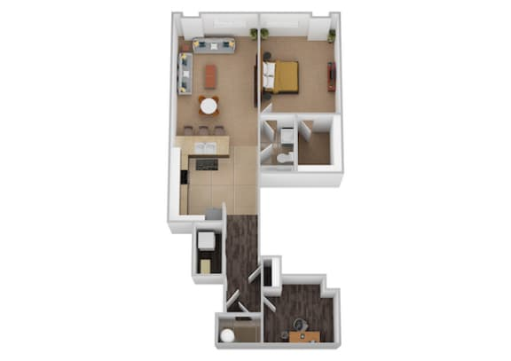 The Cervantes One Bed One Bath Floor Plan at Renaissance at the Power Building, Cincinnati, Ohio