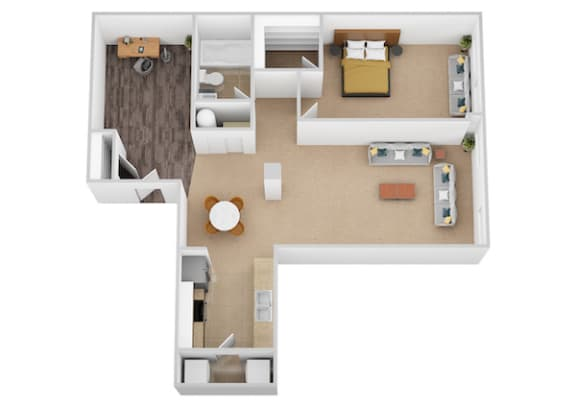 The Magellan One Bed One Bath Floor Plan at Renaissance at the Power Building, Cincinnati, OH