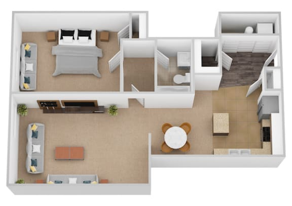 The Raphael One Bed One Bath Floor Plan at Renaissance at the Power Building, Cincinnati, OH