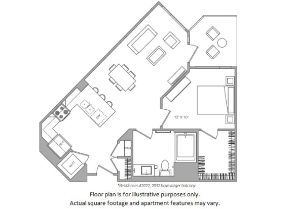 Floor Plan  1 Bed C floor plan at Cannery Park by Windsor, California, 95112