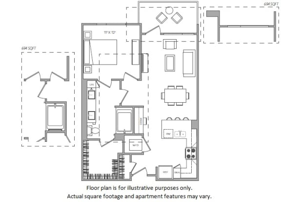 Floor Plan  1 Bed D floor plan at Cannery Park by Windsor, 415 E Taylor St, 95112
