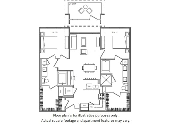 Floor Plan  1 Bed H floor plan at Cannery Park by Windsor, California, 95112