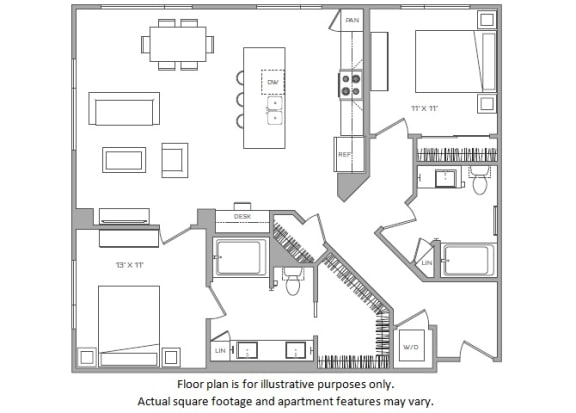 Floor Plan  1 Bed J Floor plan at Cannery Park by Windsor, San Jose, CA