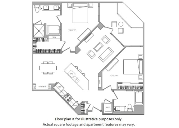 Floor Plan  1 Bed K floor plan at Cannery Park by Windsor, CA, 95112