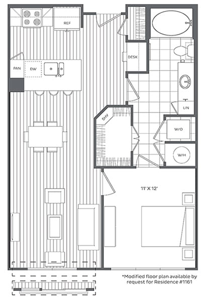 Floor Plan  1G Floor Plan at Platt Park by Windsor, Denver, CO