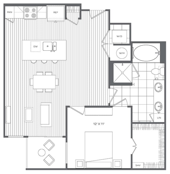 Floor Plan  1K Floor Plan at Platt Park by Windsor, Denver, CO, 80210