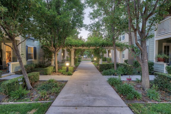Walkway with Professional Landscaping at 1552 East Gate Way, #126, Pleasanton