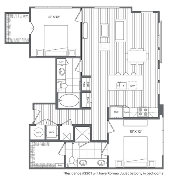 Floor Plan  2H Floor Plan at Platt Park by Windsor, Denver, CO, 80210