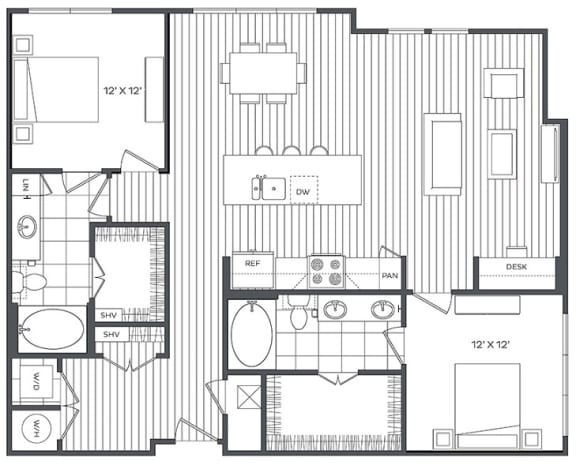 Floor Plan  2M Floor Plan at Platt Park by Windsor, Denver, 80210