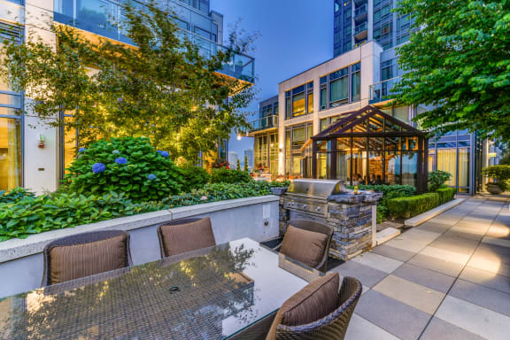 Grilling Station and Outdoor Dining Area at The Bravern, 688 110th Ave NE, Bellevue