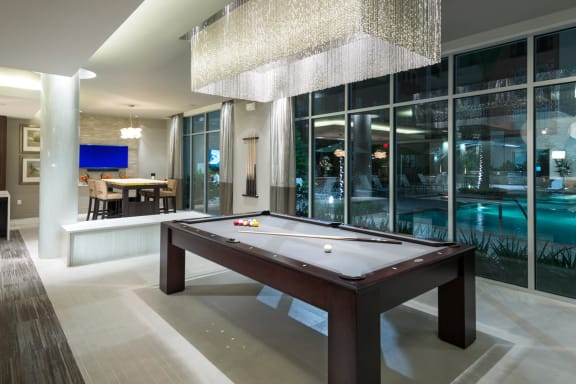 Billiards Table In Game Room at Windsor at West University, Houston, 77005