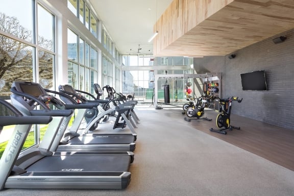 2,750 Square Foot Fitness Studio with Cardio, Weight and Resistance Training, and Spin Bikes, at Metro West, Plano, Texas
