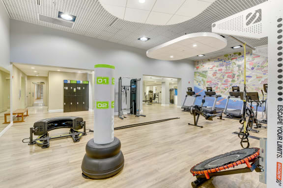 Fitness center at Windsor at Main Place, Orange, California