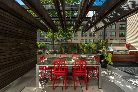 Outdoor Gathering Space with BBQ Grills at The Victor by Windsor, 110 Beverly St, MA