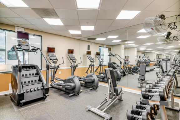 Cardio and Weightlifting Equipment in Gym at Windsor at Mariners, New Jersey, 07020