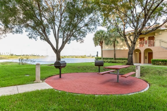 Grilling Area with Pond Views at Windsor at Miramar, Miramar, Florida