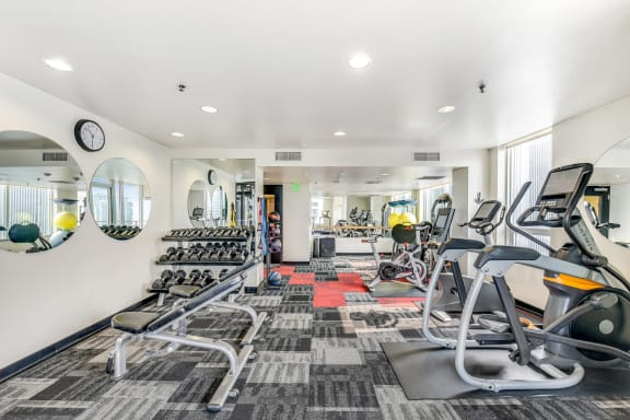Fitness Center with Cardio and Weightlifting Equipment at The Martin, 2105 5th Ave, WA