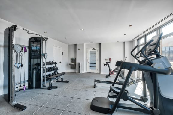 Brand new fitness center with Peloton bikes at Halstead Tower by Windsor, 4380 King Street, Alexandria