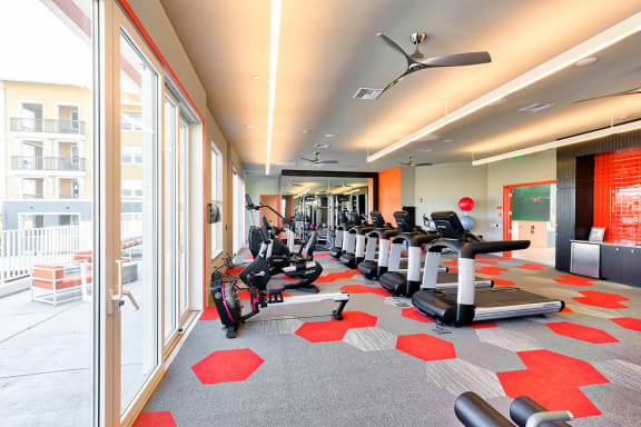 Wellness Center with Club-Quality Fitness Equipment, Spin Bikes and Yoga Studio with On-Demand Fitness Classes, at Blu Harbor by Windsor, Redwood City, CA