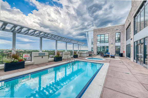 Rooftop Pool with Sundeck, Jacuzzi, and Fire Pit at Halstead Tower by Windsor, 4380 King Street, Alexandria
