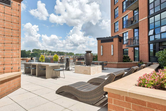 Outdoor grilling stations on terrace at IO Piazza by Windsor, Arlington, 22206