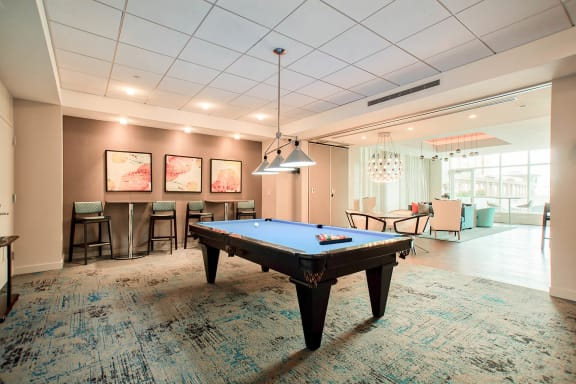 Resident Club Suite and Café with Billiards Table at Waterside Place by Windsor, 02210, MA