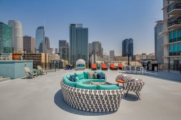 Expansive, Outdoor Lounge Space at Renaissance Tower, Los Angeles, CA