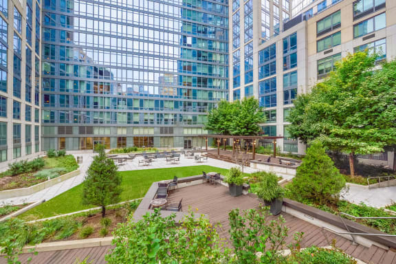 Landscaped courtyard at The Ashley, New York, NY