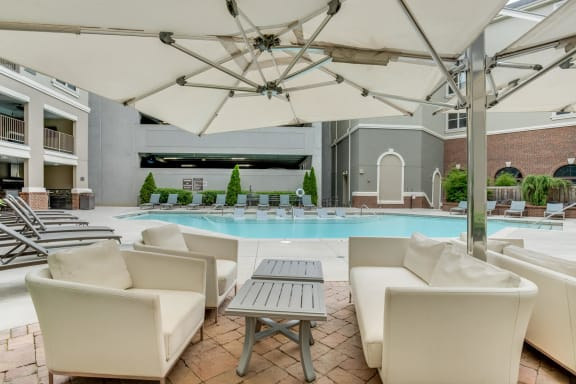 Amenities-Poolside Cabana With Lounging Chairs at Windsor at Glenridge, Sandy Springs, GA