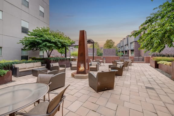 Outdoor Lounge with Fire Pit at The Manhattan Tower and Lofts, Denver, 80202