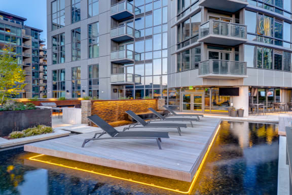 Wading Pool with Chaise Lounge Island at Stratus, Seattle, 98121