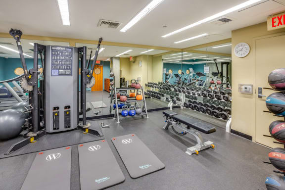 Stretching Area in Fitness Center at Sea Castle, Santa Monica, CA