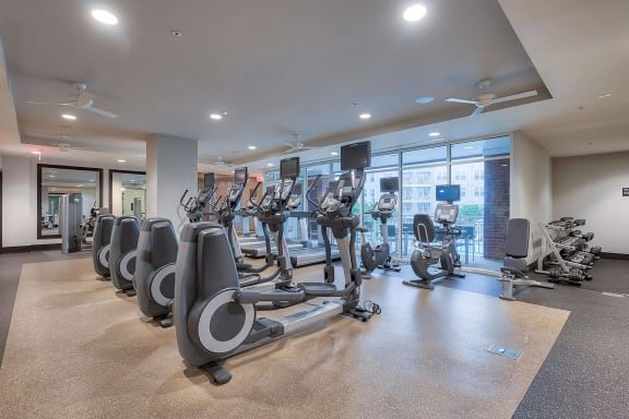 Fully-equipped fitness center at The Ridgewood by Windsor, Fairfax, VA